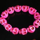 Turquoise Hot Pink Skull Beads Stretch Bracelet for Men ZZ2395