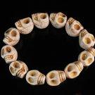 Turquoise White Skull Beads Stretch Bracelet for Men ZZ2397