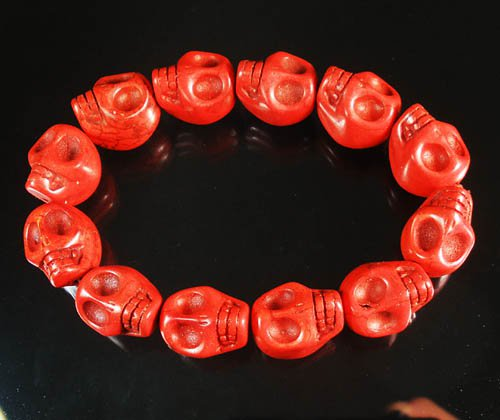 Turquoise Red Skull Beads Stretch Bracelet for Men ZZ2398