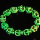 Turquoise Green Skull Beads Stretch Bracelet for Men ZZ2399