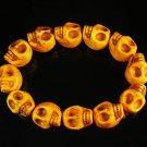 Turquoise Orange Skull Beads Stretch Bracelet for Men ZZ2400