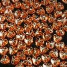 1000 pcs Wedding Dress Accessories Silvertone Dot Inlaid Orange Resin Trigonal Beads Findings ZZ5125