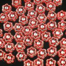 3000 pcs Silvertone Point Inlaid 2 Sides Red Resin Beads Findings ZZ541
