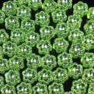 3000 pcs Silvertone Point Inlaid 2 Sides Green Resin Beads Findings ZZ539