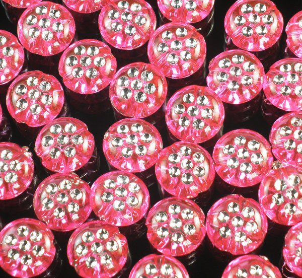 2400pcs Silvertone Point Inlaid 2 Sides Pink Red Resin Beads Findings ZZ538