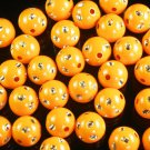 1800 pcs Silvertone Dot Inlaid Orange Ball Resin Beads Findings ZZ545
