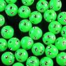 1800 pcs Silvertone Dot Inlaid Green Ball Resin Beads Findings ZZ546