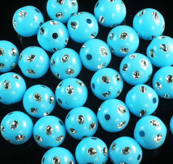 1800 pcs Silvertone Dot Inlaid Baby Blue Ball Resin Beads Findings ZZ547