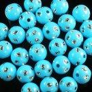 1800 pcs Silvertone Dot Inlaid Baby Blue Ball Resin Beads Findings ZZ547