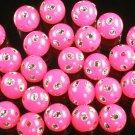 1800 pcs Silvertone Dot Inlaid Hot Pink Ball Resin Beads Findings ZZ548