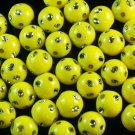 1800 pcs Silvertone Dot Inlaid Yellow Ball Resin Beads Findings ZZ550