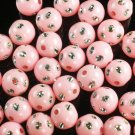 1800 pcs Silvertone Dot Inlaid Pink Ball Resin Beads Findings ZZ553