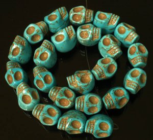 10 Strand (23pcs/s) Jewelry Findings Accessories Blue Turquoise Skull Beads ZZ5007