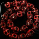10 Strand (23pcs/s) Jewelry Findings Accessories Red Turquoise Skull Beads ZZ5026