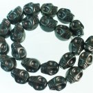 10 Strand (23pcs/s) Jewelry Findings Accessories Black Turquoise Skull Beads ZZ5074