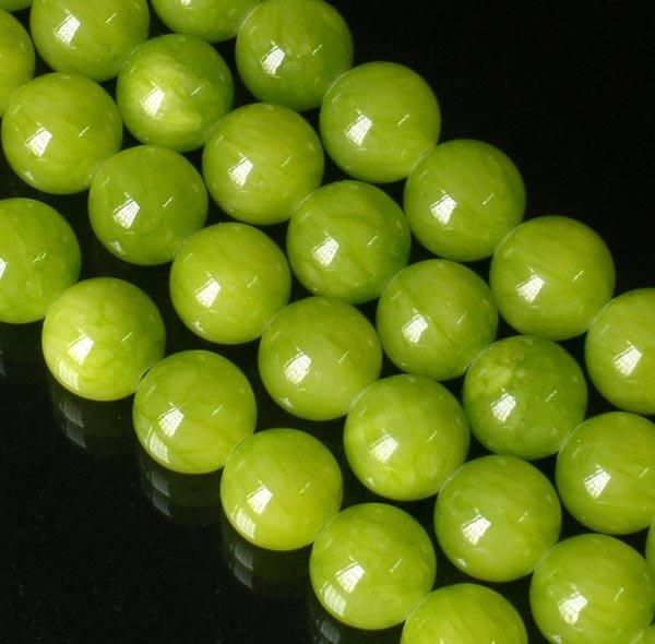 10 Strand 15inch Polished Olive Green Gemstone Loose 0.5inch Beads ZZ5090