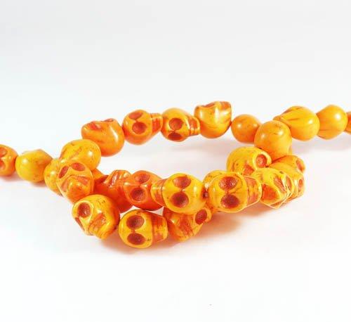 10 Strands 15inch Turquoise Howlite Orange Skull Beads