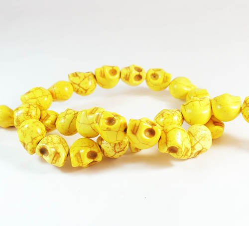 10 Strands 15inch Turquoise Howlite Yellow Skull Beads