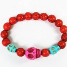 Turquoise Hot Pink Baby Blue Skull Bead Red Veins Ball Beads Stretch Bracelet ZZ2478