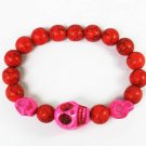 Turquoise Hot Pink Skull Bead Red Veins Ball Beads Stretch Bracelet ZZ2482