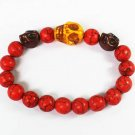 Turquoise Yellow Brown Skull Bead Red Veins Ball Beads Stretch Bracelet ZZ2494