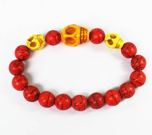 Turquoise Yellow Skull Bead Red Veins Ball Beads Stretch Bracelet ZZ2497