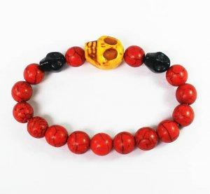 Turquoise Yellow Black Skull Bead Red Veins Ball Beads Stretch Bracelet ZZ2498