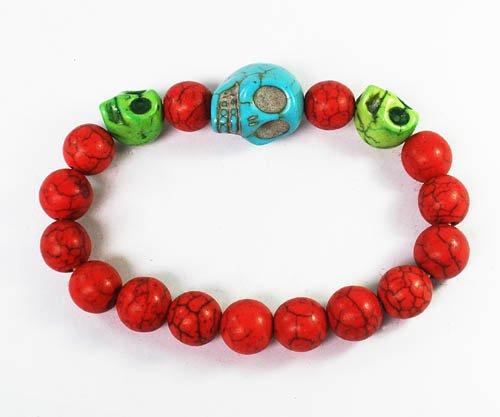 Turquoise Baby Blue Green Skull Bead Red Veins Ball Beads Stretch Bracelet ZZ2507