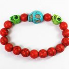 Turquoise Baby Blue Green Skull Bead Red Veins Ball Beads Stretch Bracelet ZZ2507