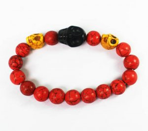 Turquoise Black Yellow Skull Bead Red Veins Ball Beads Stretch Bracelet ZZ2516
