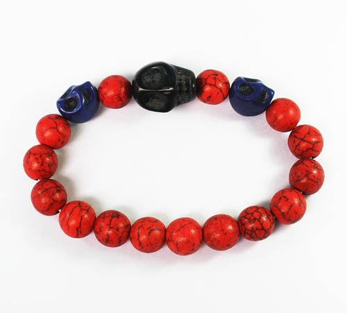 Turquoise Black Blue Skull Bead Red Veins Ball Beads Stretch Bracelet ZZ2519