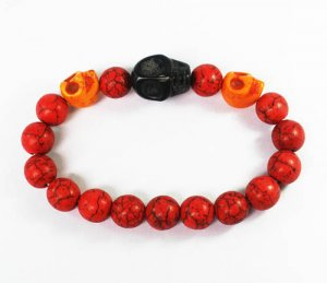 Turquoise Black Orange Skull Bead Red Veins Ball Beads Stretch Bracelet ZZ2520