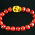 Turquoise Yellow Skull Bead Red Veins Ball Beads Stretch Bracelet ZZ2526