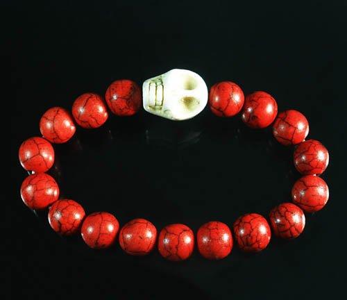 Turquoise White Skull Bead Red Veins Ball Beads Stretch Bracelet ZZ2527
