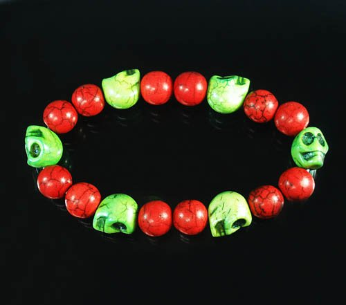 Turquoise Green Skull Bead Red Veins Ball Beads Stretch Bracelet ZZ2541