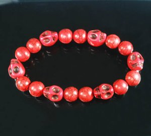 Turquoise Red Skull Bead Red Veins Ball Beads Stretch Bracelet ZZ2542