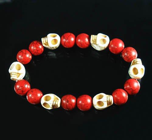 Turquoise White Skull Bead Red Veins Ball Beads Stretch Bracelet ZZ2543