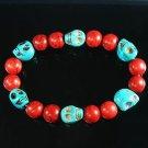 Turquoise Baby Blue Skull Bead Red Veins Ball Beads Stretch Bracelet ZZ2546