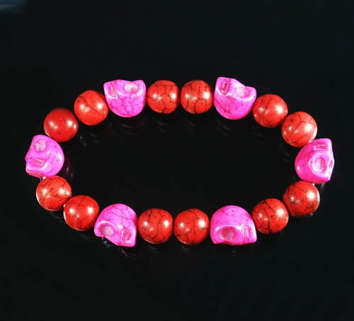 Turquoise Hot Pink Skull Bead Red Veins Ball Beads Stretch Bracelet ZZ2547