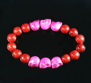 Turquoise Hot Pink Skull Bead Red Veins Ball Beads Stretch Bracelet ZZ2552