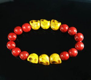Turquoise Yellow Skull Bead Red Veins Ball Beads Stretch Bracelet ZZ2560