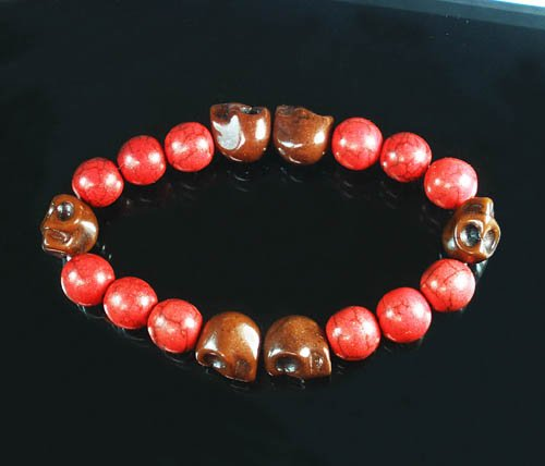 Turquoise Brown Skull Bead Red Veins Ball Beads Stretch Bracelet ZZ2563