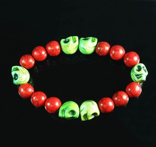 Turquoise Green Skull Bead Red Veins Ball Beads Stretch Bracelet ZZ2569