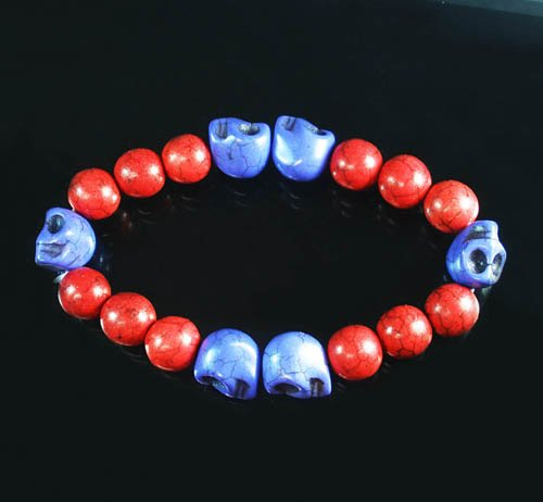 Turquoise Purple Skull Bead Red Veins Ball Beads Stretch Bracelet ZZ2572