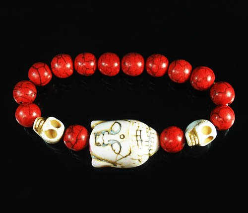 Turquoise White Buddha Skull Beads Red Veins Ball Beads Stretch Bracelet ZZ2576