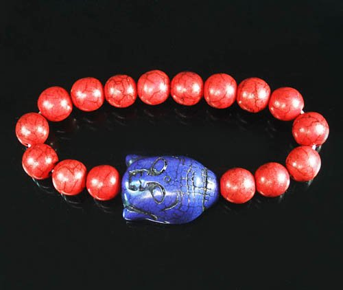 Turquoise Blue-Purple Buddha Bead Red Veins Ball Beads Stretch Bracelet ZZ2583