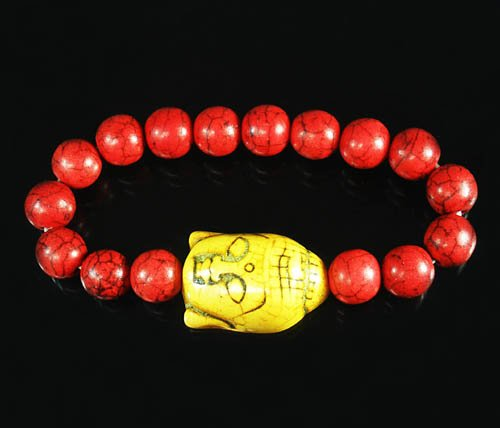 Turquoise Yellow Buddha Bead Red Veins Ball Beads Stretch Bracelet ZZ2585