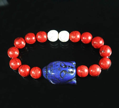 Turquoise Blue-Purple Buddha Bead Red White Veins Ball Beads Stretch Bracelet ZZ2589