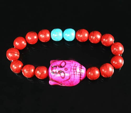 Turquoise Hot Pink Buddha Bead Red Blue Veins Ball Beads Stretch Bracelet ZZ2598