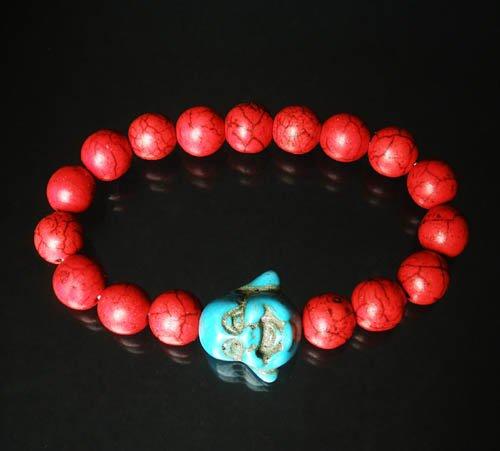 Turquoise Baby Blue Buddha Bead Red Veins Ball Beads Prayer Mala Stretch Bracelet ZZ2607
